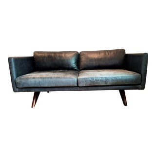 West Elm Modern Brooklyn Leather Oak Sofa For Sale