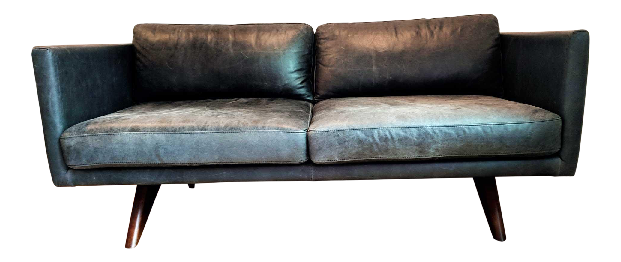 Etonnant West Elm Modern Brooklyn Leather Oak Sofa