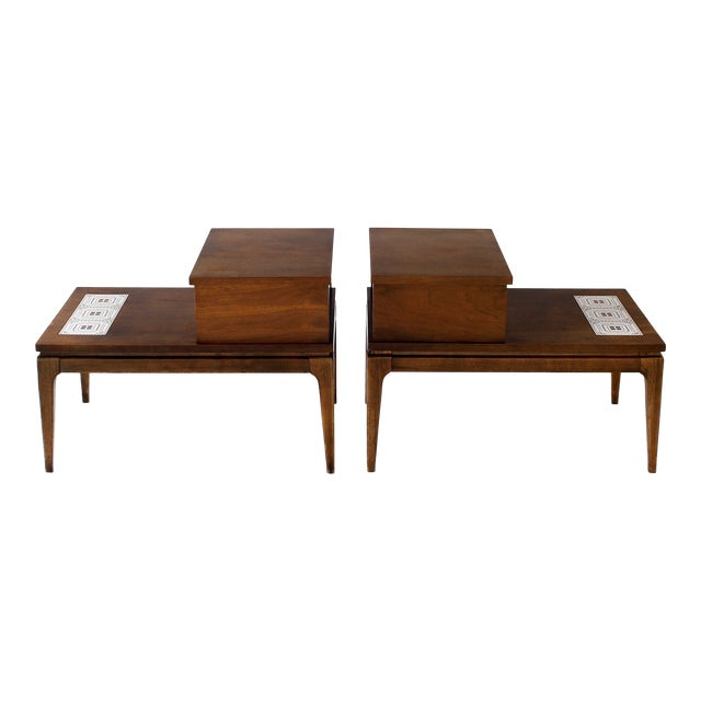 Lane Mid Century Modern Walnut Inlay Two Tier With Drawer End Tables A Pair Chairish