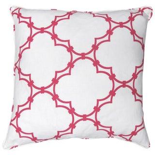 Cococozy Pink Quatrefoil 100% Linen Pillow For Sale