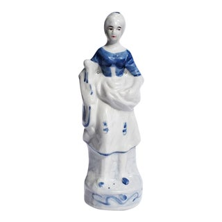 Chinoiserie Blue and White Ceramic Chintz Figurine of a Peasant Woman For Sale