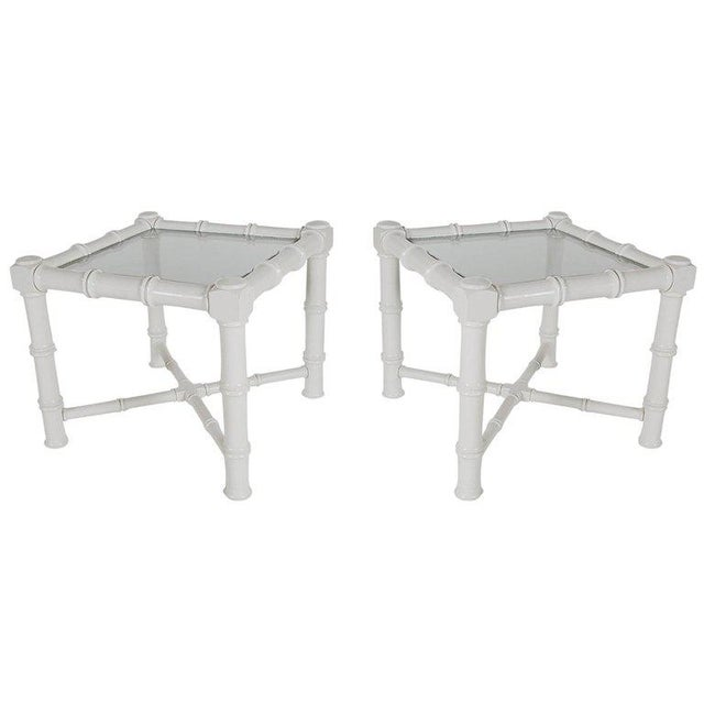 Hollywood Regency White Faux Bamboo Chinoiserie Tables - A Pair For Sale - Image 3 of 6