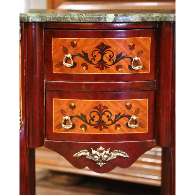 Brown 20th Century French Louis XV Walnut Commode Chest of Drawers With Marble Top For Sale - Image 8 of 13