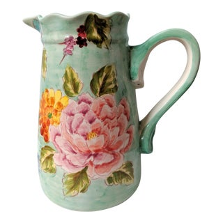 Large Boho Chic Hand Painted Watercolor Aqua Blue Floral Pitcher For Sale