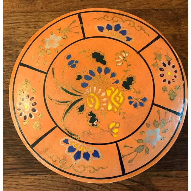 Paper Hand Painted Paper Mache Box For Sale - Image 7 of 10