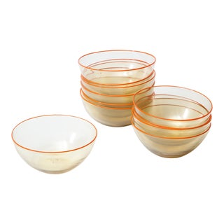 1940s Murano Clear Glass Bowls with Orange Rim, - Set of 11 For Sale