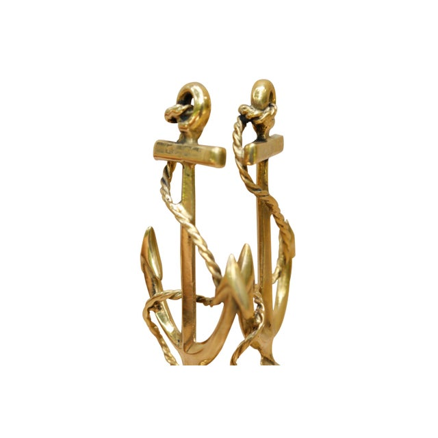 Boho Chic Large Brass Anchor Lamp Finials, a Pair For Sale - Image 3 of 5