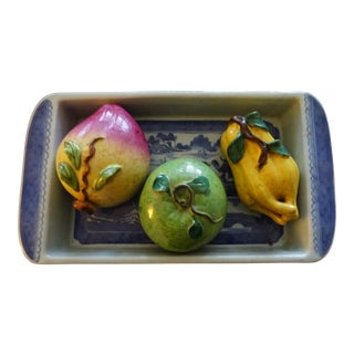 Mid 19th Century Antique Rectangular Canton Bulb Bowl & Chinese Altar Fruit Figures- 4 Pieces For Sale