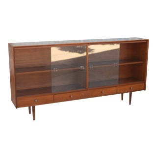 Walnut Display Bookcase For Sale