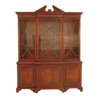 Baker 3 Door Chippendale Mahogany China Cabinet For Sale