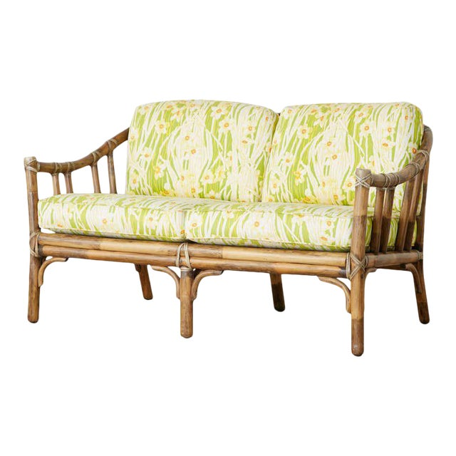 McGuire Organic Modern Bamboo Rattan Settee Loveseat For Sale