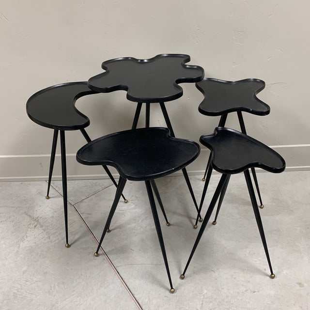 1990s Modern Black Italian Side Tables - Set of 5 For Sale In Milwaukee - Image 6 of 6