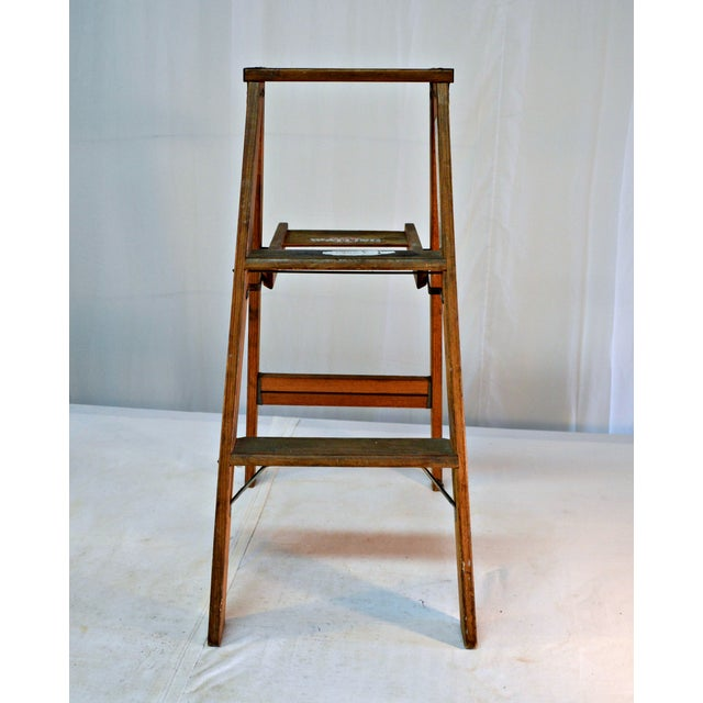 Vintage Wooden Ladder with Tool Shelf For Sale In Miami - Image 6 of 7