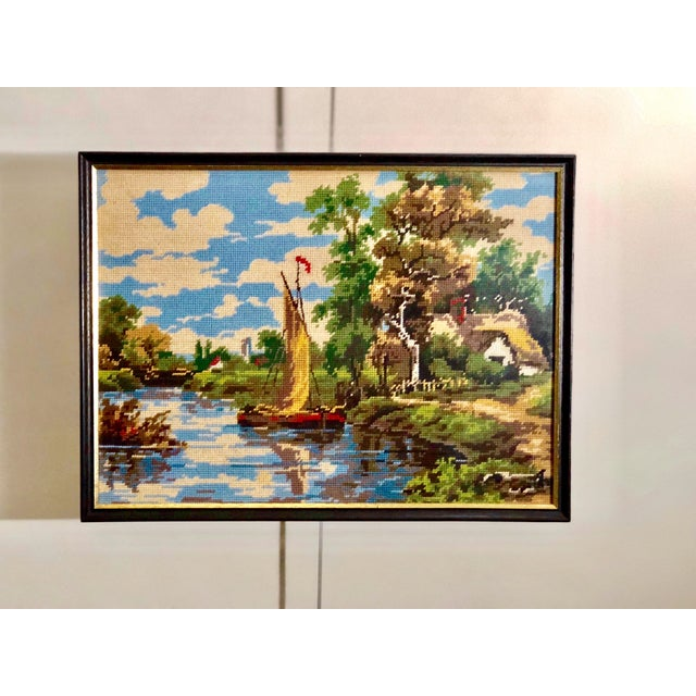 Vintage Needlepoint Tapestry of an English Landscape For Sale - Image 9 of 9