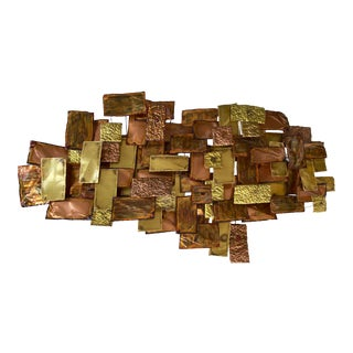 Monumental Brutalist Brass & Copper Wall Sculpture, Illegibly Signed & Dated '80 For Sale