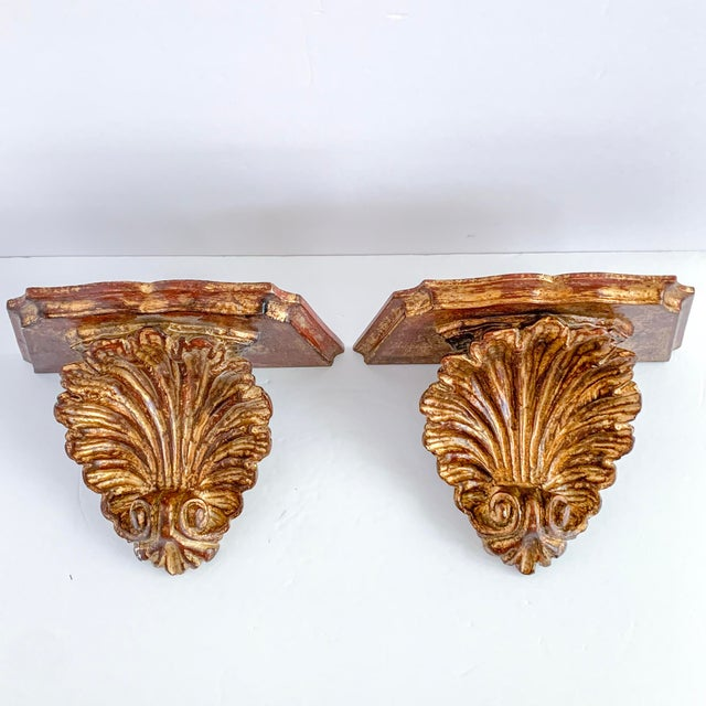 Red Vintage Florentine Style Gilt Carved Wood Wall Shelf Sconce - a Pair For Sale - Image 8 of 8