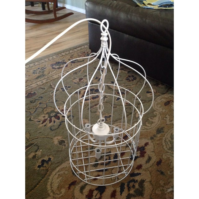 White Birdcage 3 Light Chandelier With Antique Glass Prisms - Image 7 of 9