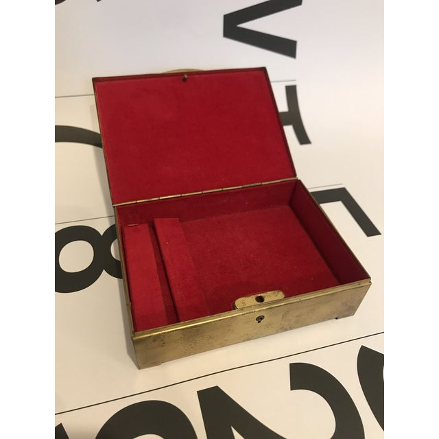 Mid-Century Modern Vintage Brass Clad Trinket/Jewelry Box For Sale - Image 3 of 7