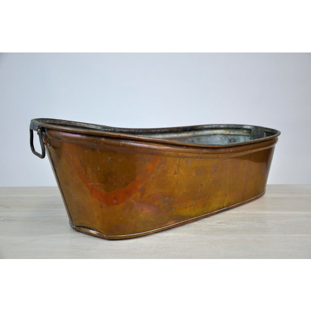 Antique Baby Copper Bath Tub With Nickel Interior | Chairish
