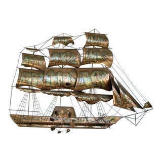Curtis Jere Style Copper Ship Wall Hanging For Sale