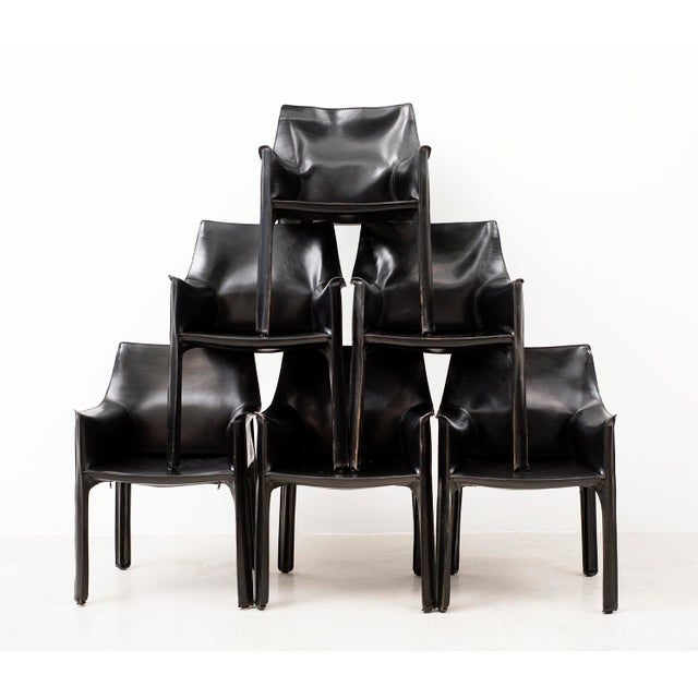 Set of 10 Cab Chairs by Mario Bellini--6 Arm, 4 Side--In Black Leather, 1970s For Sale - Image 13 of 13
