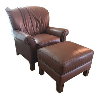 Pearson Leather Wing Chair and Footrest For Sale