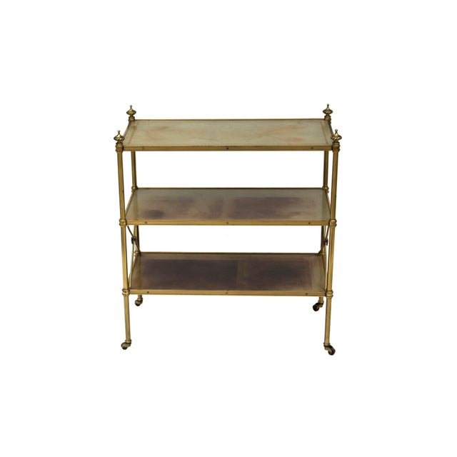 Baker Furniture Company Petite Leather-Lined Brass Etagere or Bookshelf by Baker For Sale - Image 4 of 10