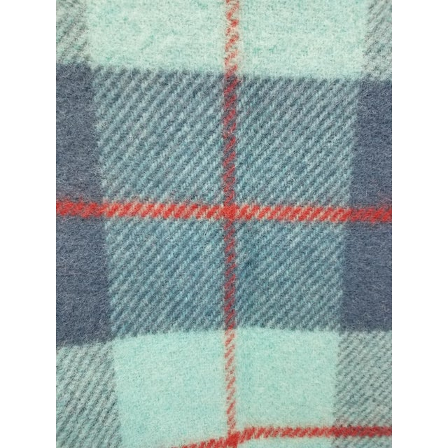Wool Throw Blue, Aqua and Red in Different Sized Stripes - Made in England For Sale - Image 9 of 11