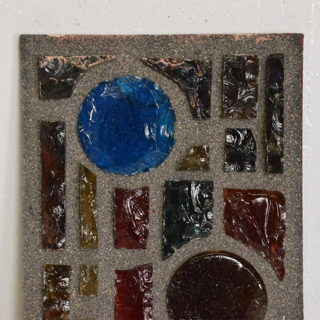 Brutalist Period Architectural Wall Art Colored Glass Panel For Sale - Image 9 of 10
