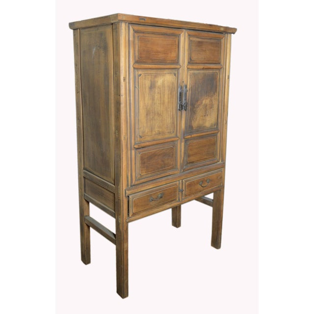 19th Century Chinese Wooden Wardrobe With Paneled Doors, Drawers and Tall Legs For Sale In New York - Image 6 of 8