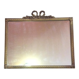 1948 Antique Gold Bow Top Wood Mirror For Sale