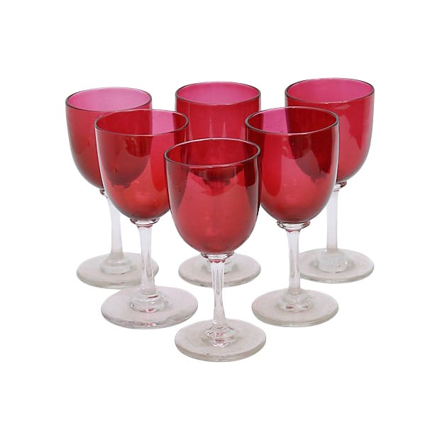 Antique English Victorian Wine Stems - Set of 6 For Sale