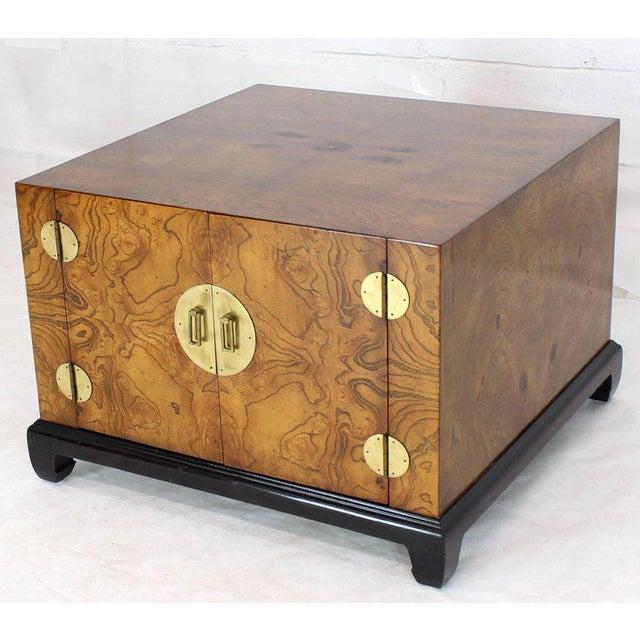 Mid-century modern large cabinet side end table with oversized polished brass hardware finished back. Gorgeous burl wood...