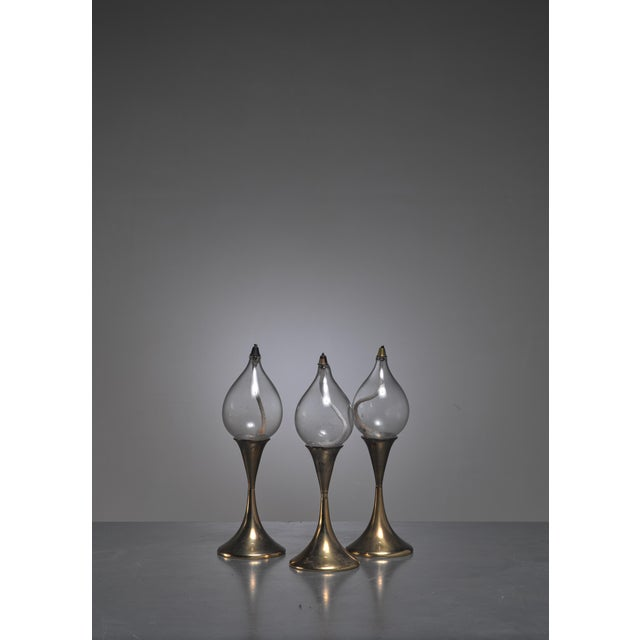 Set of three identical brass oil lamps or candle holders, Denmark For Sale - Image 4 of 4