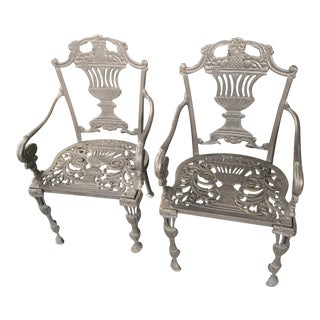 1920s Vintage Victorian Iron Garden Chairs-a Pair For Sale