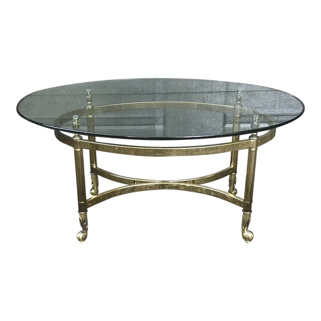 Hollywood Regency Brass and Glass Coffee Table by LaBarge For Sale