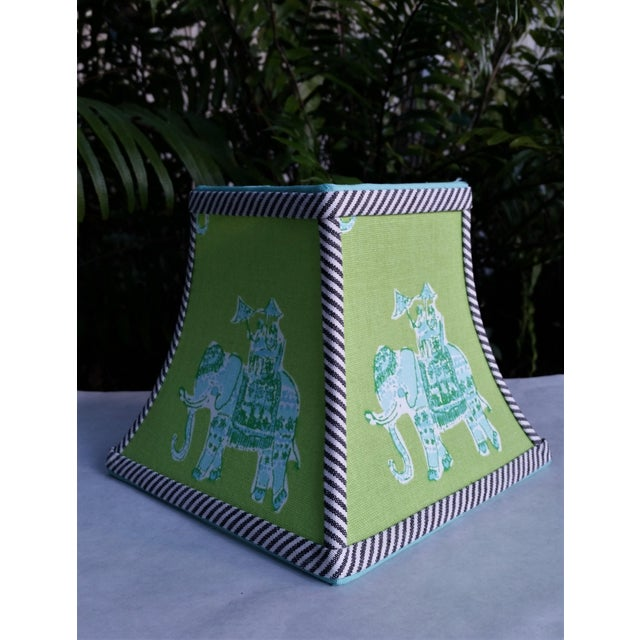 Not Yet Made - Made To Order Green Lilly Pulitzer Fabric Clip on Coastal Elephant Lampshade For Sale - Image 5 of 11