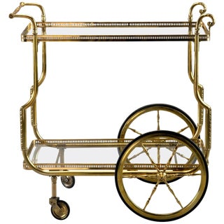 French Brass and Glass Bar or Tea Trolley