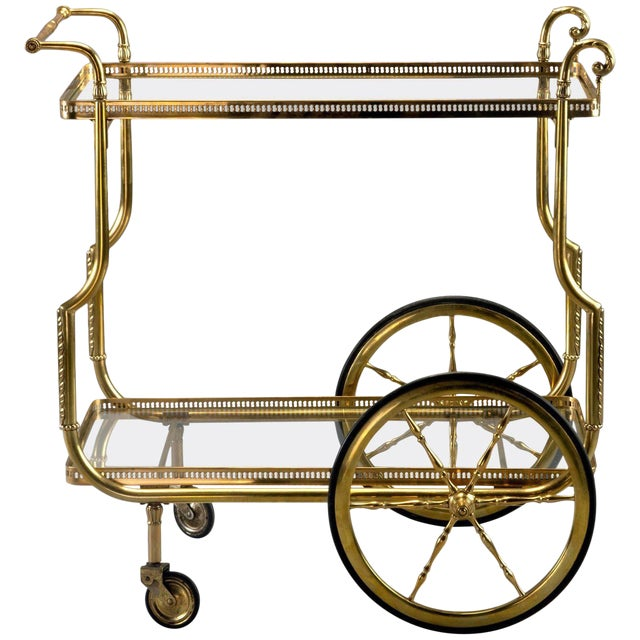French Brass and Glass Bar or Tea Trolley For Sale