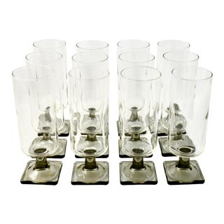 Mid-Century Smoked Glass Stemware - Set of 12 For Sale