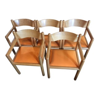 1950s Vintage Sunar Hauserman Birch Armchairs- Set of 5 For Sale