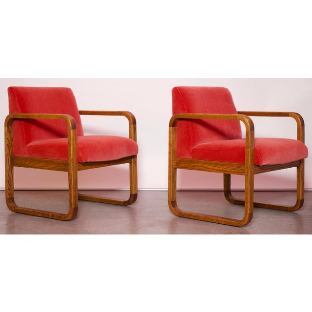 1970s Mid-Century Modern Crimson Mohair Accent Chairs - a Pair For Sale - Image 4 of 13