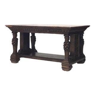 Italian Renaissance Oak Library Table Desk For Sale