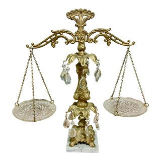 Vintage Brass, Crystal and Marble Scales of Justice For Sale
