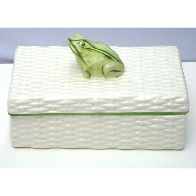 Italian Porcelain Ceramic Wicker Frog Box - Image 2 of 11