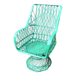 1970s Vintage Woodard Spun Fiber Outdoor Green Chair For Sale