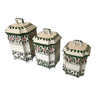 Portuguese Ceramic Kitchen Canisters by Casafina - Set of 3 For Sale