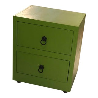 Green Leather Chest of Drawers For Sale