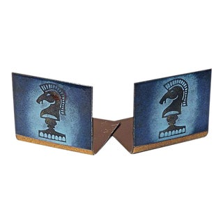 Vintage Mid-Century Enamel Bookends - A Pair For Sale