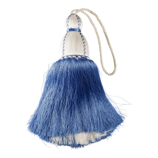 White & French Blue Tassel, Small For Sale